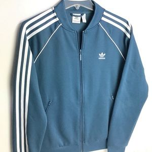 adidas   Teal Full Zip Three Stripe Track Jacket M
